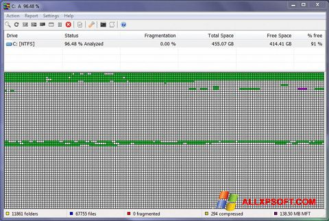 Screenshot UltraDefrag for Windows XP