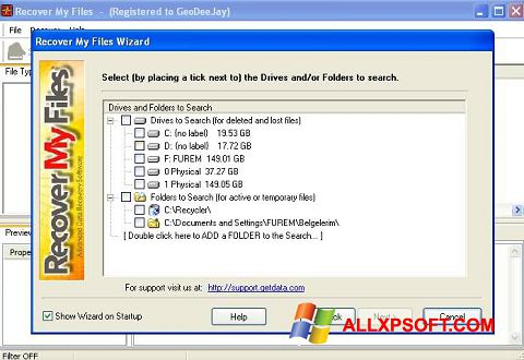 Screenshot Recover My Files for Windows XP