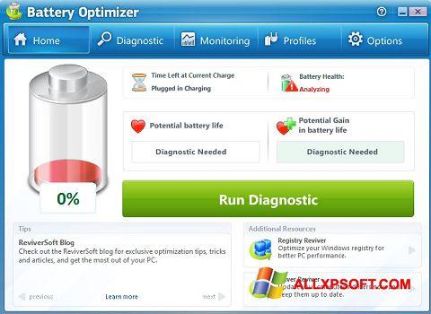Screenshot Battery Optimizer for Windows XP