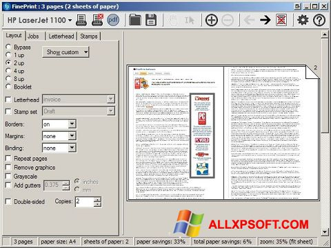 Screenshot FinePrint for Windows XP