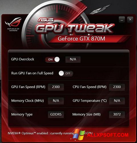 Screenshot ASUS GPU Tweak for Windows XP