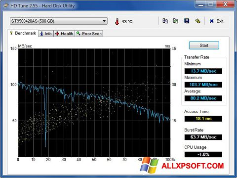 Screenshot HD Tune for Windows XP