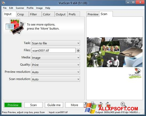 Screenshot VueScan for Windows XP