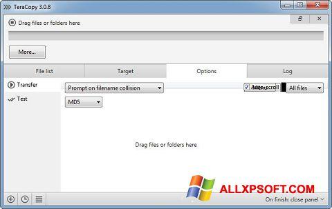 Screenshot TeraCopy for Windows XP
