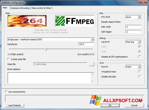 Screenshot x264 Video Codec for Windows XP