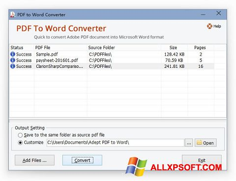 Screenshot PDF to Word Converter for Windows XP