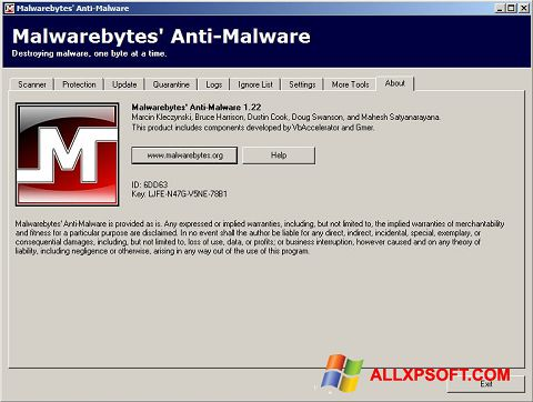 Screenshot Malwarebytes Anti-Malware Free for Windows XP
