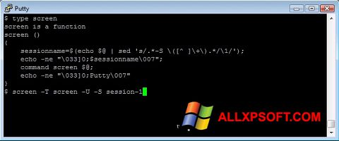 Screenshot PuTTY for Windows XP