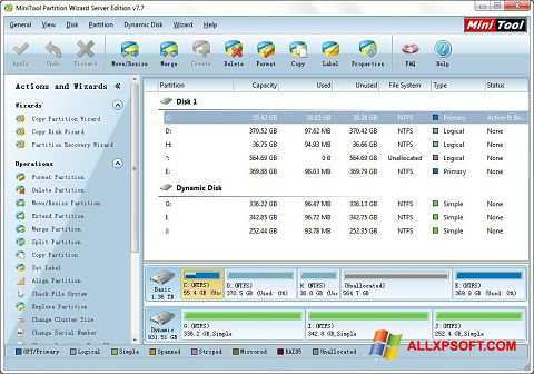 Screenshot MiniTool Partition Wizard for Windows XP