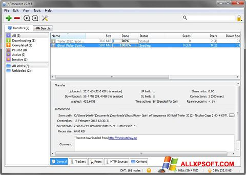 Screenshot qBittorrent for Windows XP