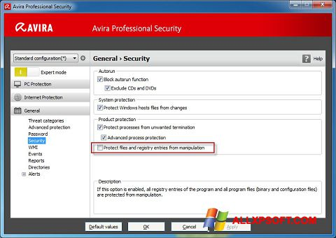 Screenshot Avira Professional Security for Windows XP
