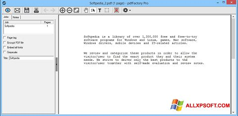 Screenshot pdfFactory Pro for Windows XP