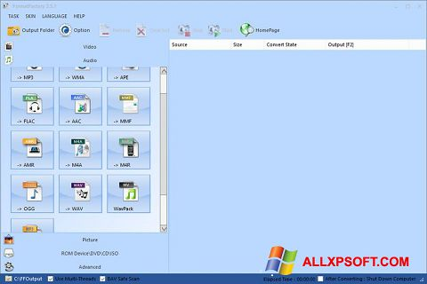 Screenshot Format Factory for Windows XP