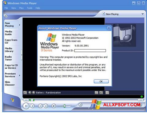 Screenshot Windows Media Player for Windows XP