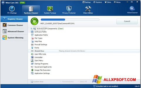 Screenshot Wise Care 365 for Windows XP