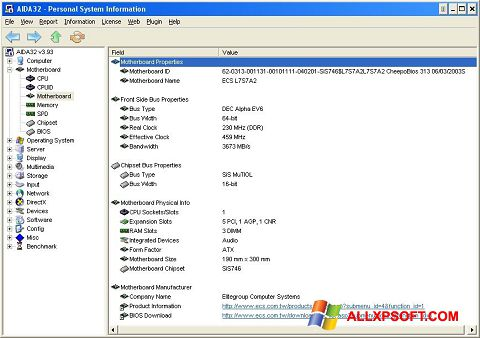 Screenshot AIDA32 for Windows XP