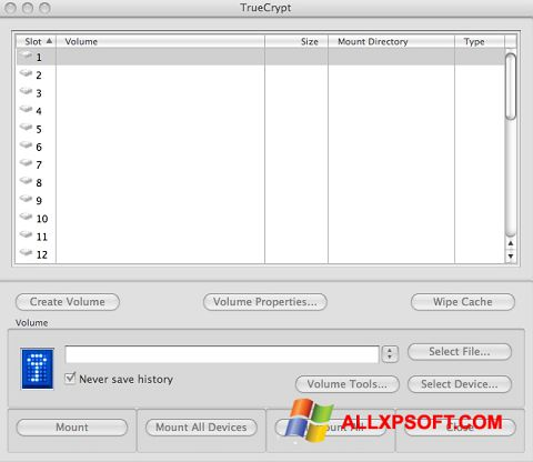 Screenshot TrueCrypt for Windows XP