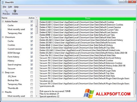 Screenshot BleachBit for Windows XP