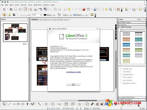 Screenshot LibreOffice for Windows XP