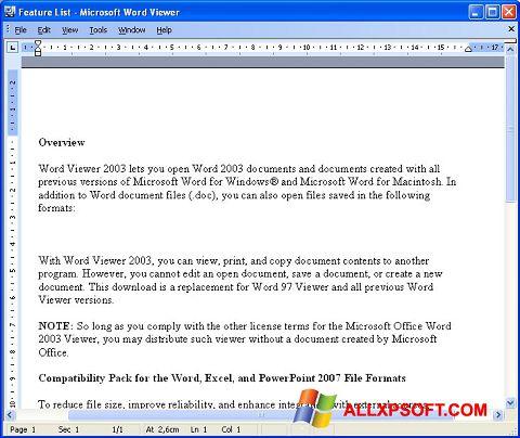 Screenshot Word Viewer for Windows XP