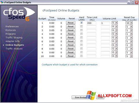 Screenshot cFosSpeed for Windows XP