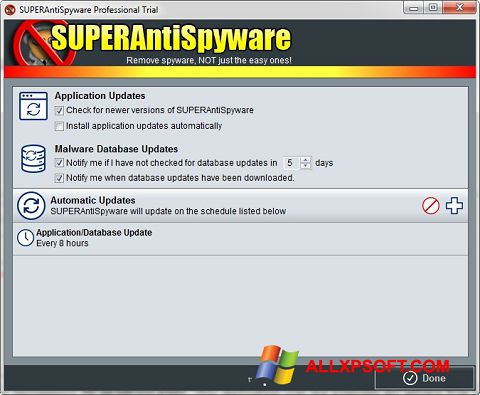 Screenshot SUPERAntiSpyware for Windows XP