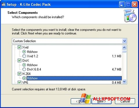 Screenshot K-Lite Codec Pack for Windows XP