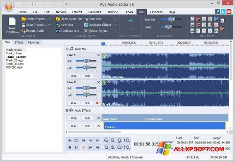 Screenshot AVS Audio Editor for Windows XP