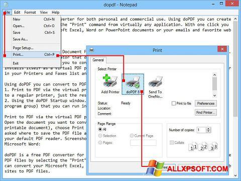 Screenshot doPDF for Windows XP