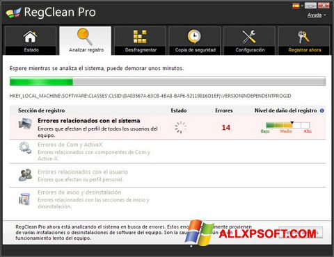 Screenshot RegClean Pro for Windows XP