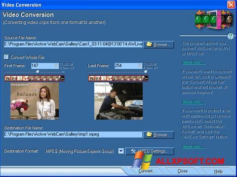 Screenshot Active WebCam for Windows XP
