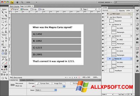 Screenshot Adobe Fireworks for Windows XP