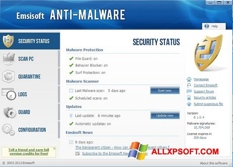 Screenshot Emsisoft Anti-Malware for Windows XP