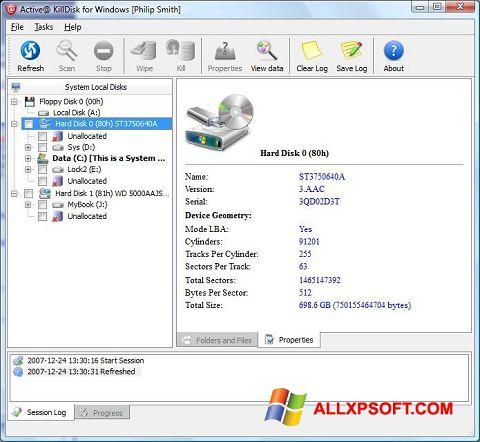 Screenshot Active KillDisk for Windows XP
