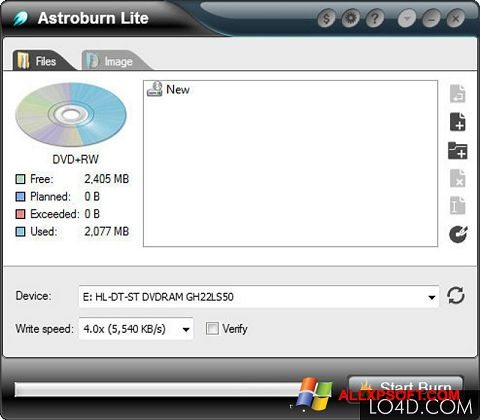 Screenshot Astroburn Lite for Windows XP