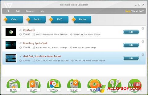 Screenshot Freemake Video Converter for Windows XP