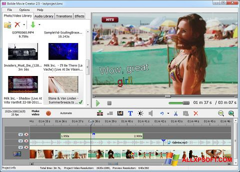 Screenshot Bolide Movie Creator for Windows XP