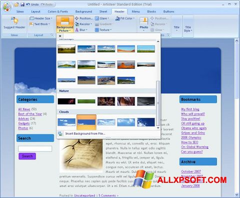Screenshot Artisteer for Windows XP