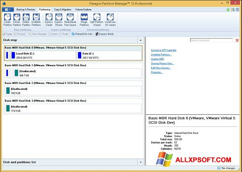 Screenshot Paragon Partition Manager for Windows XP