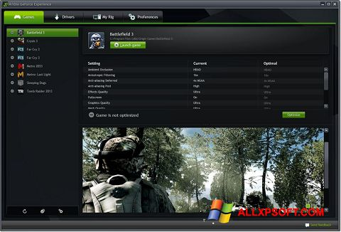 Screenshot NVIDIA GeForce Experience for Windows XP