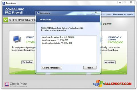 Screenshot ZoneAlarm for Windows XP
