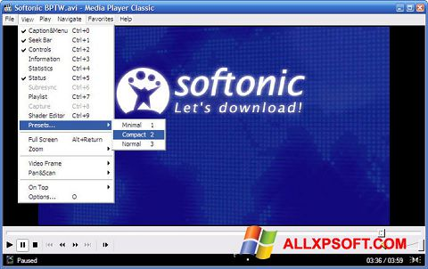 Screenshot Media Player Classic for Windows XP