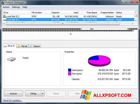 Screenshot Defraggler for Windows XP