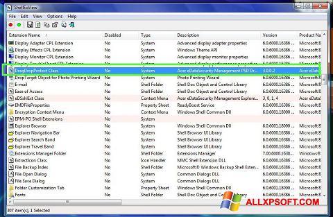 Screenshot ShellExView for Windows XP