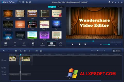 Screenshot Wondershare Video Editor for Windows XP