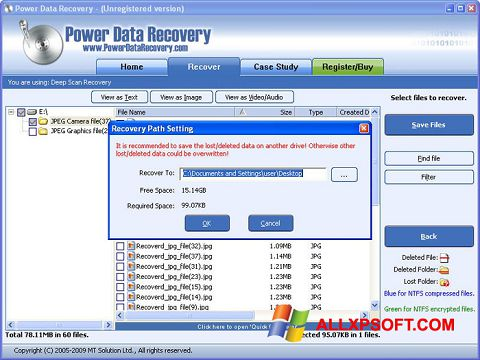 Screenshot Power Data Recovery for Windows XP
