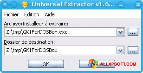 Screenshot Universal Extractor for Windows XP