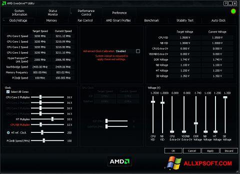 Screenshot AMD Overdrive for Windows XP