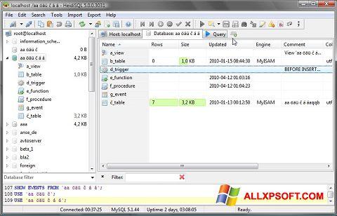 Screenshot HeidiSQL for Windows XP
