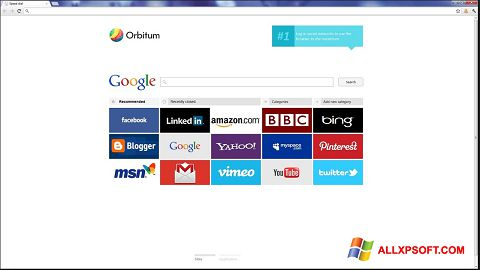 Screenshot Orbitum for Windows XP